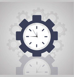 time clock gear work solution business vector image