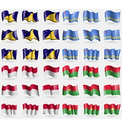 Tokelau Aruba Indonesia Burkia Faso Set of 36 vector