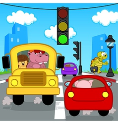 Transport traffic in city vector