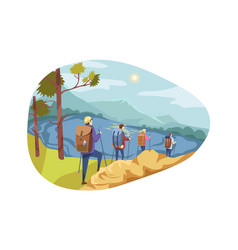 travelling team tourism nature hiking concept vector image
