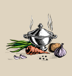 tureen and for cooking vegetables vector image