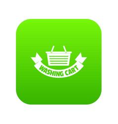 Washing cart icon green vector