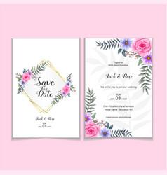 Wedding invitation template roses watercolor vector