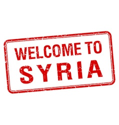 Welcome to Syria red grunge square stamp vector