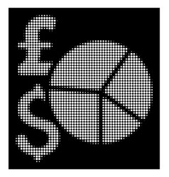 White halftone pound and dollar pie chart icon vector