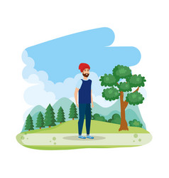 young man with ski mask in the landscape vector image