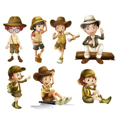 Boys and girls in safari costume vector image vector image
