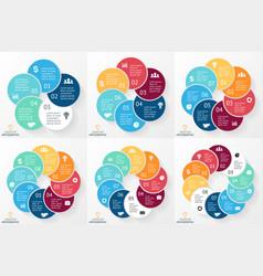 Circle arrows infographics set cycle vector