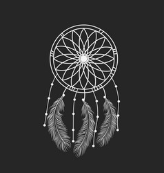 dream catcher graphic in black and white vector image vector image