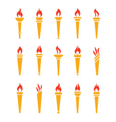 icons golden torch with flame isolated set vector image vector image