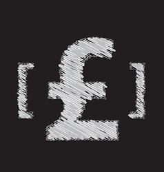 pound icon sketch design vector image vector image