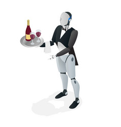 Robot waiter in tuxedo and gloves holding a wine vector