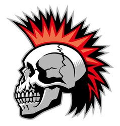skull with mohawk hairstyle vector image vector image