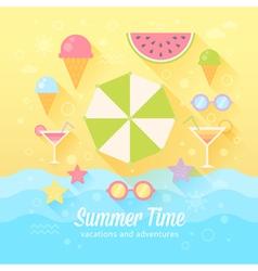 Summer flat card vector image