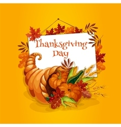 Thanksgiving cornucopia plenty horn greeting card vector image
