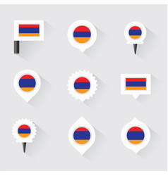 armenia flag and pins for infographic and map vector image