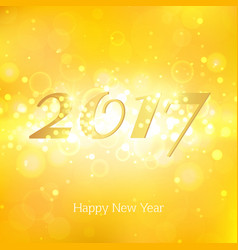 happy new year 2017 on gold abstract background vector image