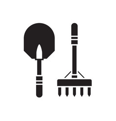 shovel and rake outline icon vector image