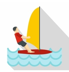 Windsurfing icon flat style vector image
