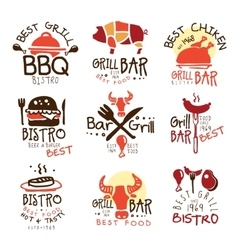Best Grill Bar Promo Signs Set Of Colorful vector image vector image