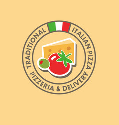 pizzeria logo italian cuisine flag vector image vector image