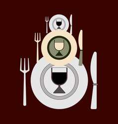three sets of cutlery of different sizes for vector image