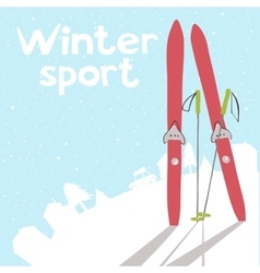 Winter landscape with ski vector image vector image