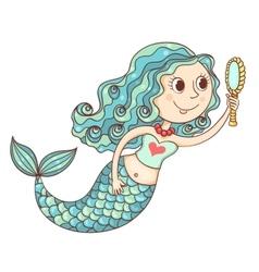 Cute mermaid with mirror vector image vector image