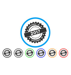 designed in 2017 stamp rounded icon vector image