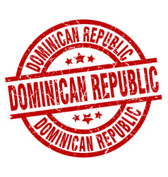 dominican republic red round grunge stamp vector image vector image