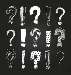 sketch question and exclamation marks on vector image
