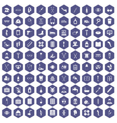 100 disabled healthcare icons hexagon purple vector image