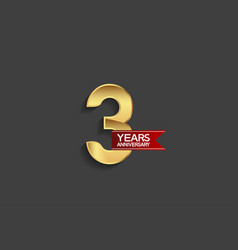 3 years anniversary simple design with golden vector