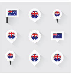 Australia flag and pins for infographic and map vector