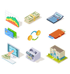 bank isometric icons internet banking money and vector image