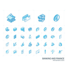 banking and finance isometric line icons 3d vector image