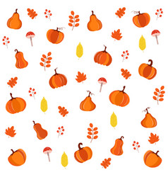 beautiful bright pattern with pumpkins leaves vector image