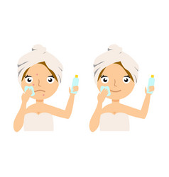 beautiful young woman applying facial moisturizing vector image