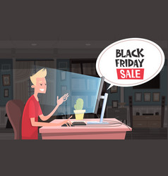 Black friday sale chat bubble over man sitting at vector
