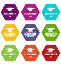 Blacksmith icons set 9 vector
