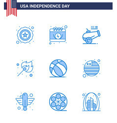 Blue pack 9 usa independence day symbols vector