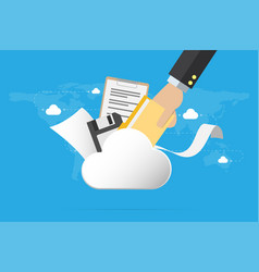 Business hand insert document into cloud vector