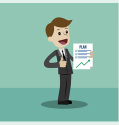 Businessman or manager has a plan job is finished vector