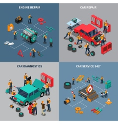 Car Service 4 Isometric Icons Square vector image