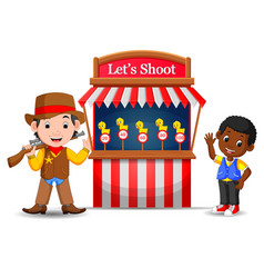 cartoon boy using cowboy costume at the game vector image