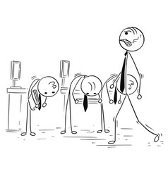cartoon of boss manager walking his subordinates vector image