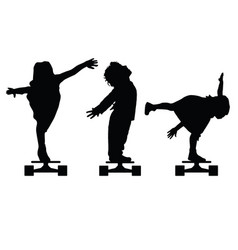 children silhouette on skate set in black vector image