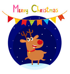 Christmas greeting card with cute cartoon reindeer vector