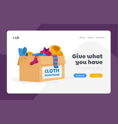 Cloth donation and charity landing page template vector