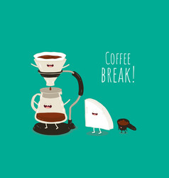 Coffee pour-over maker image funny device for vector